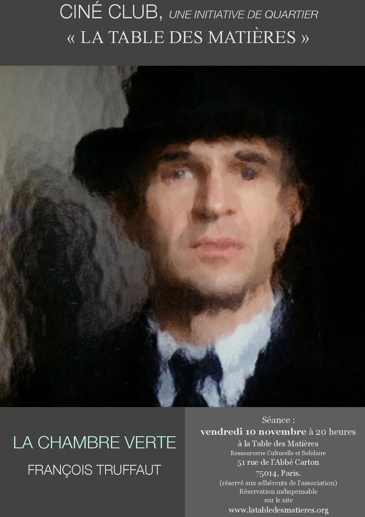 Ciné-club : Cycle Truffaut – « La Chambre verte » – LA TABLE ...