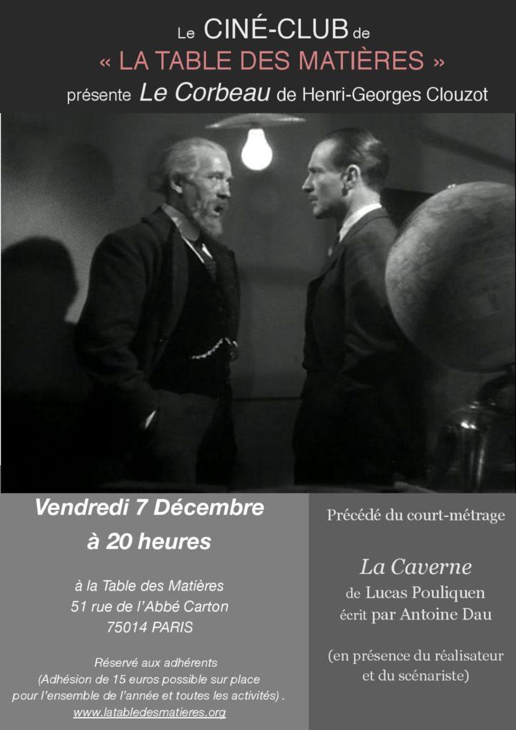 projection du film Le Corbeau, cinéma français