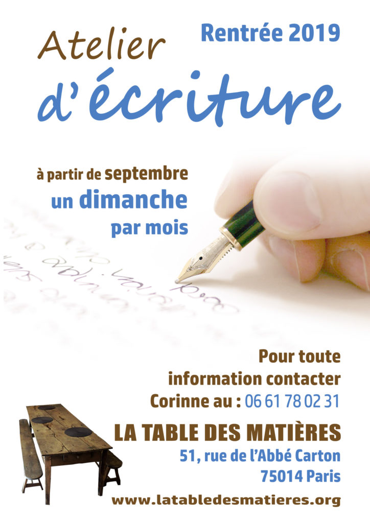 Atelier d'écriture à Paris